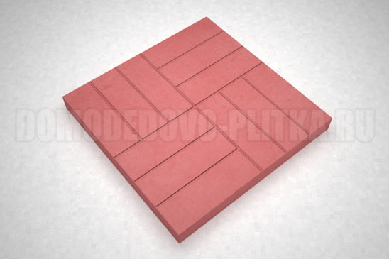 плитка 12-кирпичей цвет красный